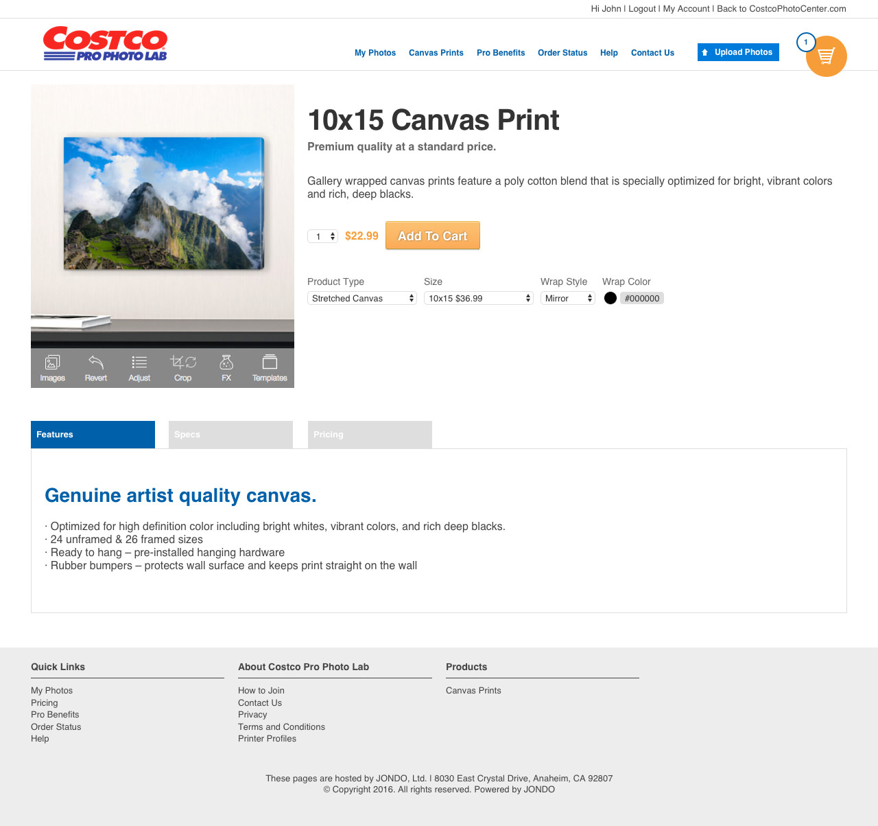 Costco Pro Photo Lab
